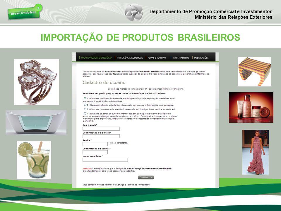 IMPORTAÇÃO DE PRODUTOS BRASILEIROS Departamento de Promoção Comercial e Investimentos Ministério das Relações Exteriores
