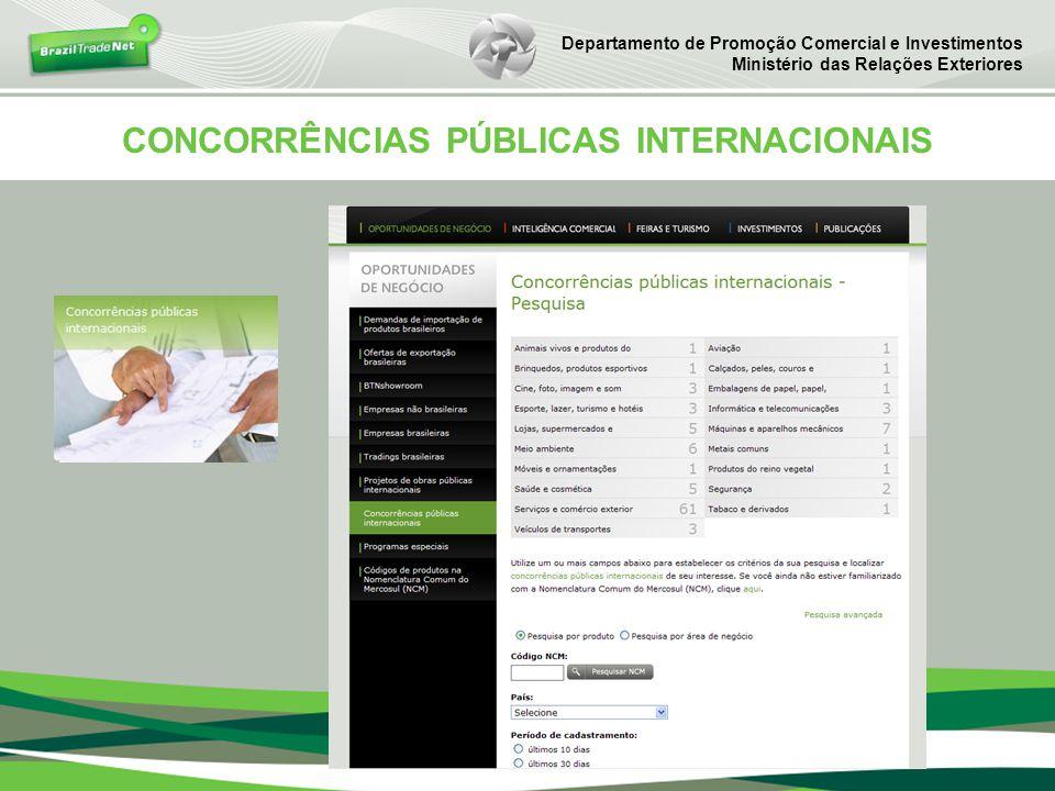 CONCORRÊNCIAS PÚBLICAS INTERNACIONAIS Departamento de Promoção Comercial e Investimentos Ministério das Relações Exteriores