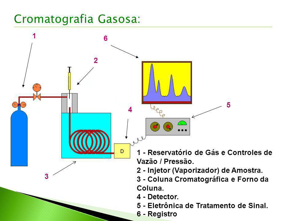 1 2 3 4 6 5 Cromatografia Gasosa: 1 - Reservatório de Gás e Controles de Vazão / Pressão. 2 - Injetor (Vaporizador) de Amostra. 3 - Coluna Cromatográf