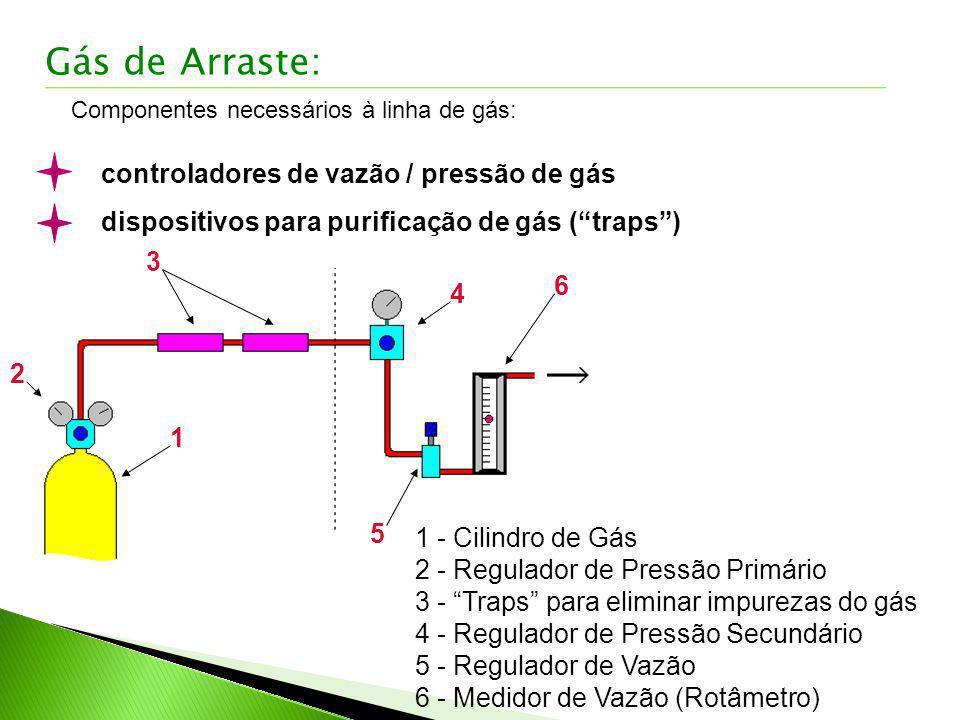 Componentes necessários à linha de gás: controladores de vazão / pressão de gás dispositivos para purificação de gás (traps) 1 2 3 4 5 6 1 - Cilindro
