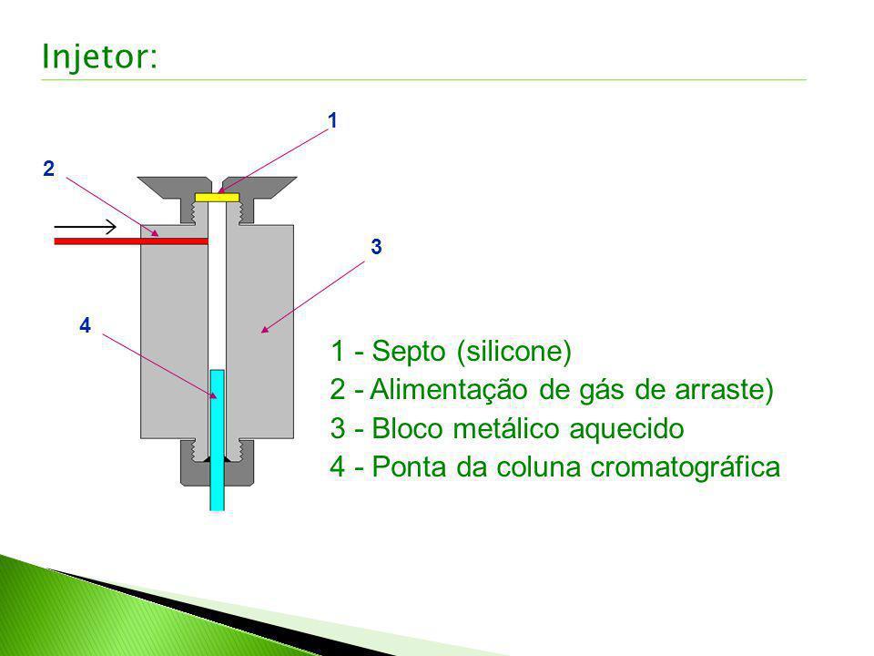 1 2 3 4 1 - Septo (silicone) 2 - Alimentação de gás de arraste) 3 - Bloco metálico aquecido 4 - Ponta da coluna cromatográfica Injetor: