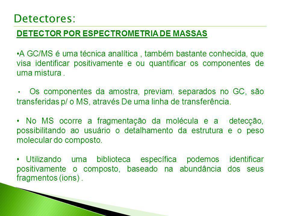 Detectores: DETECTOR POR ESPECTROMETRIA DE MASSAS A GC/MS é uma técnica analítica, também bastante conhecida, que visa identificar positivamente e ou