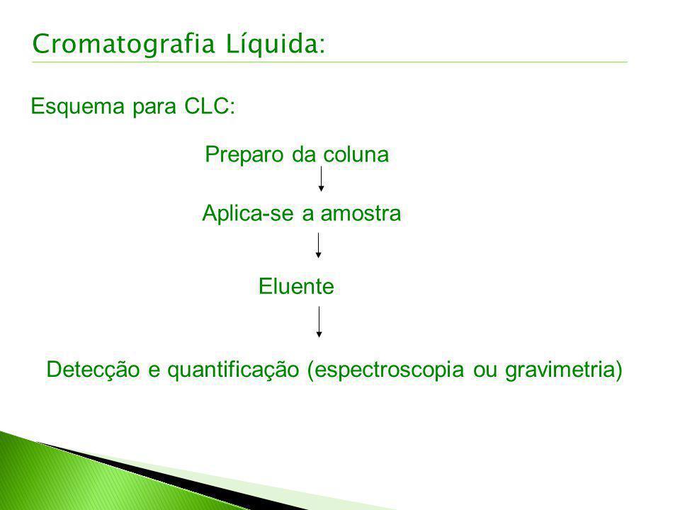 Esquema para CLC: Preparo da coluna Aplica-se a amostra Eluente Detecção e quantificação (espectroscopia ou gravimetria) Cromatografia Líquida: