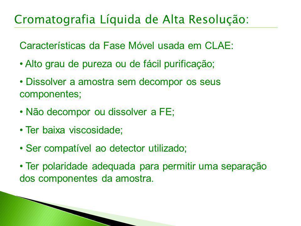 Características da Fase Móvel usada em CLAE: Alto grau de pureza ou de fácil purificação; Dissolver a amostra sem decompor os seus componentes; Não de