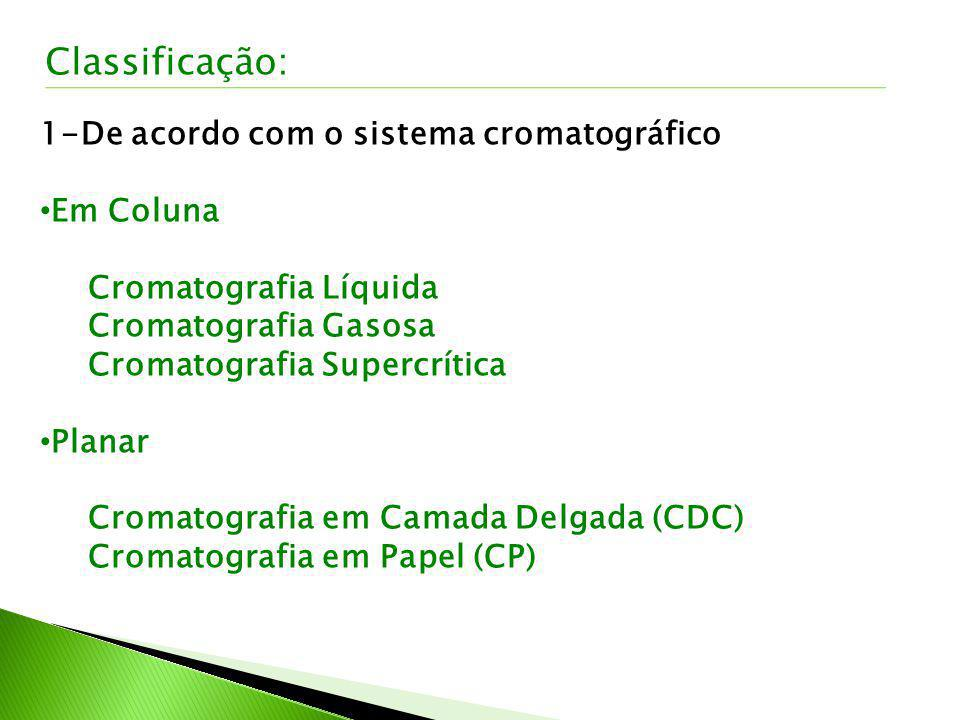 2-De acordo com a Fase Móvel Utilização de Gás Cromatografia Gasosa (CG) Cromatografia Gasosa de Alta Resolução (CGAR) Utilização de Líquido Cromatografia Líquida Clássica (CLC) Cromatografia Líquida de Alta Eficiência (CLAE) Utilização de Gás Pressurizado Cromatografia Supercrítica (CSC) Classificação: