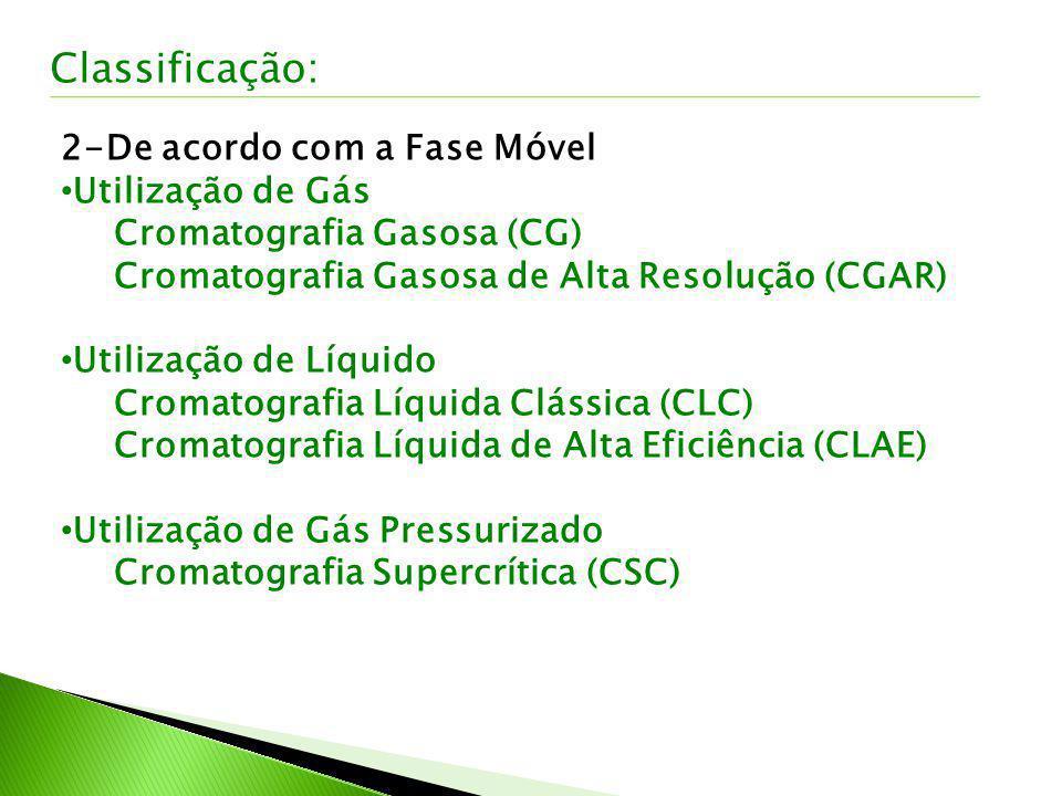 2-De acordo com a Fase Móvel Utilização de Gás Cromatografia Gasosa (CG) Cromatografia Gasosa de Alta Resolução (CGAR) Utilização de Líquido Cromatogr