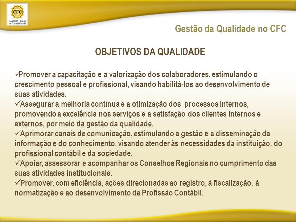 Gestão da Qualidade no CFC OBJETIVOS DA QUALIDADE Promover a capacitação e a valorização dos colaboradores, estimulando o crescimento pessoal e profissional, visando habilitá-los ao desenvolvimento de suas atividades.