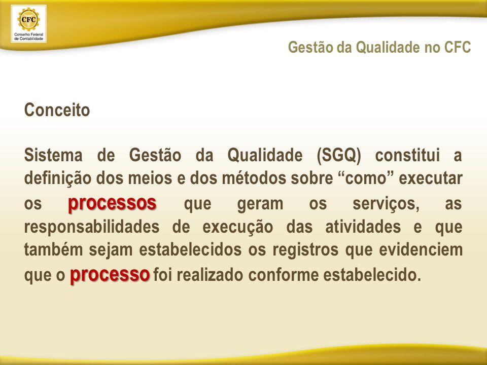Conceito processos processo Sistema de Gestão da Qualidade (SGQ) constitui a definição dos meios e dos métodos sobre como executar os processos que geram os serviços, as responsabilidades de execução das atividades e que também sejam estabelecidos os registros que evidenciem que o processo foi realizado conforme estabelecido.