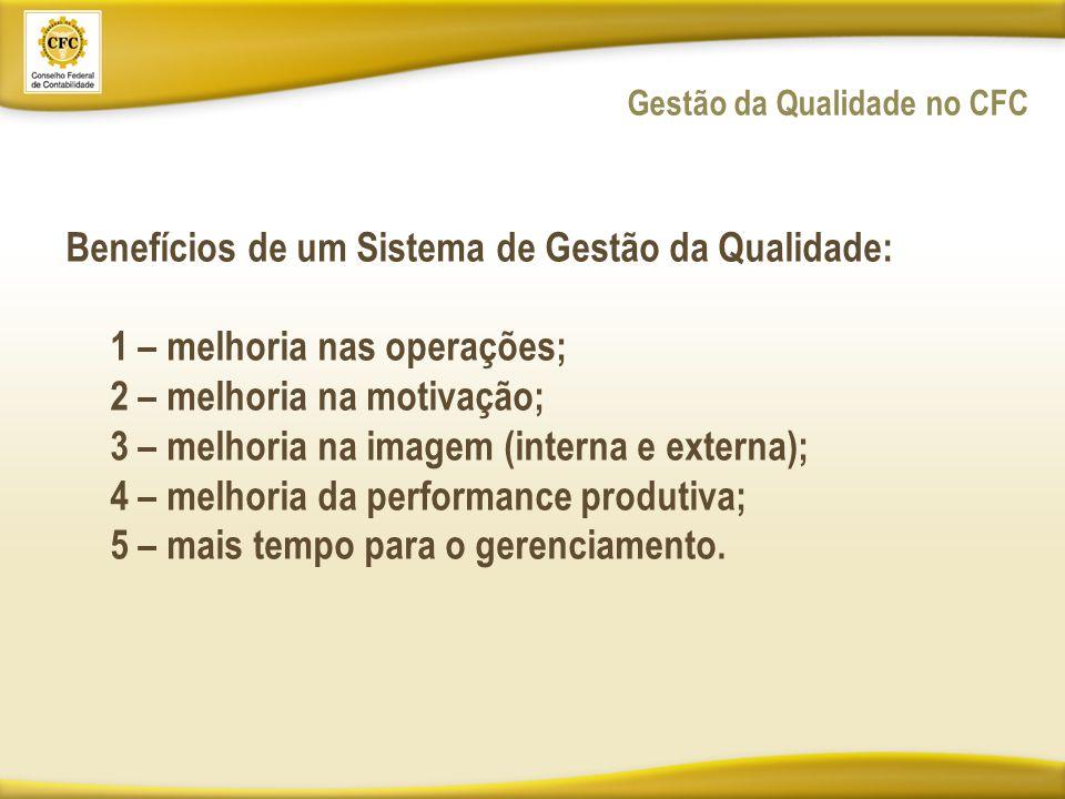 Gestão da Qualidade no CFC Benefícios de um Sistema de Gestão da Qualidade: 1 – melhoria nas operações; 2 – melhoria na motivação; 3 – melhoria na imagem (interna e externa); 4 – melhoria da performance produtiva; 5 – mais tempo para o gerenciamento.