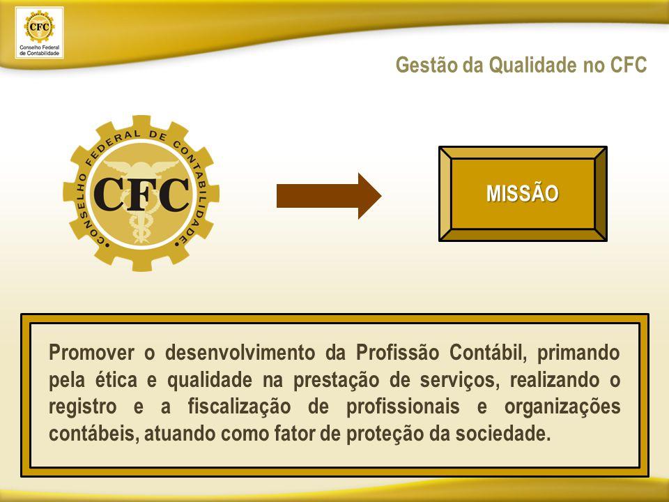 Gestão da Qualidade no CFC MISSÃO Promover o desenvolvimento da Profissão Contábil, primando pela ética e qualidade na prestação de serviços, realizando o registro e a fiscalização de profissionais e organizações contábeis, atuando como fator de proteção da sociedade.
