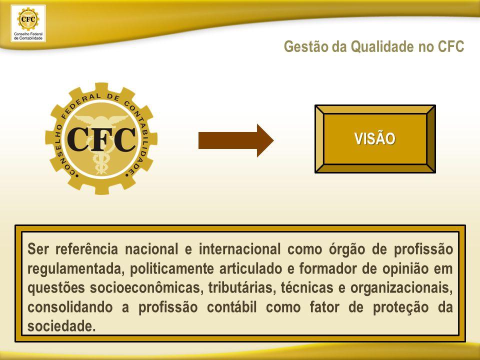 Gestão da Qualidade no CFC VISÃO Ser referência nacional e internacional como órgão de profissão regulamentada, politicamente articulado e formador de opinião em questões socioeconômicas, tributárias, técnicas e organizacionais, consolidando a profissão contábil como fator de proteção da sociedade.
