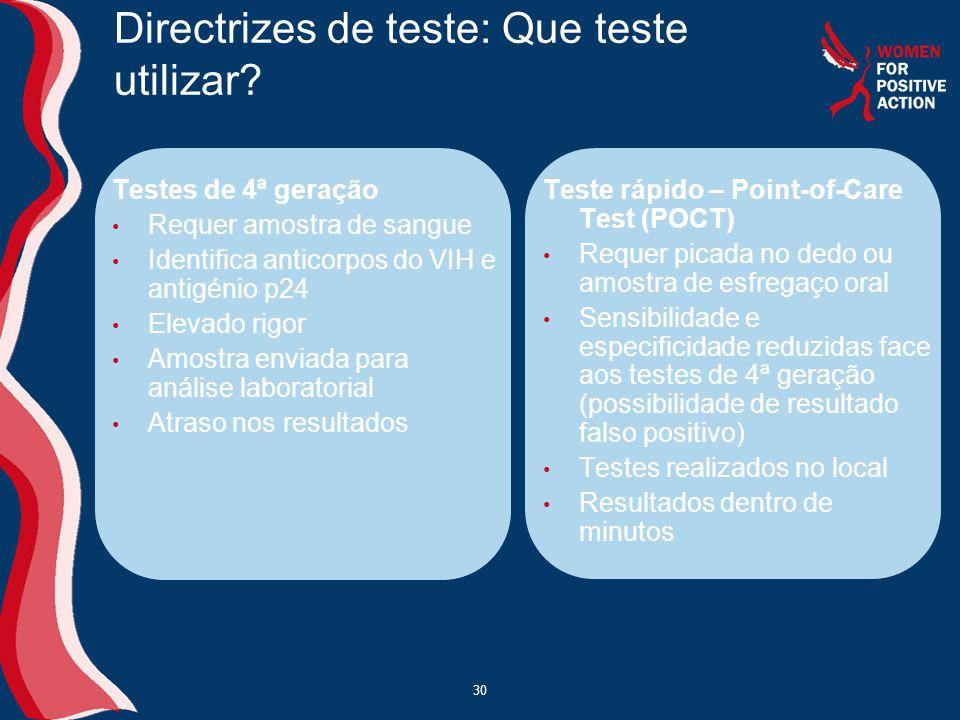 30 Directrizes de teste: Que teste utilizar? Testes de 4ª geração • Requer amostra de sangue • Identifica anticorpos do VIH e antigénio p24 • Elevado