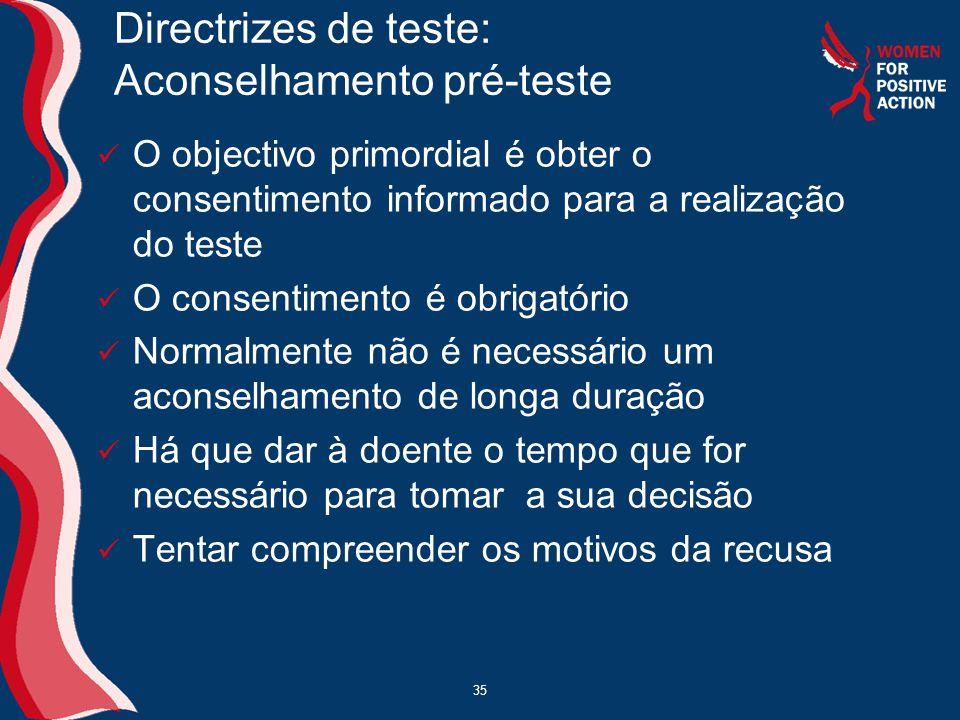 35 Directrizes de teste: Aconselhamento pré-teste  O objectivo primordial é obter o consentimento informado para a realização do teste  O consentime