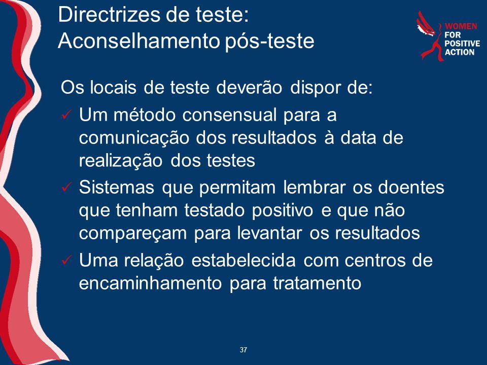 37 Directrizes de teste: Aconselhamento pós-teste Os locais de teste deverão dispor de:  Um método consensual para a comunicação dos resultados à dat