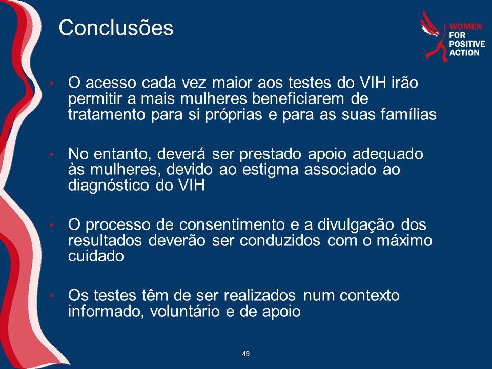 49 Conclusões • O acesso cada vez maior aos testes do VIH irão permitir a mais mulheres beneficiarem de tratamento para si próprias e para as suas fam