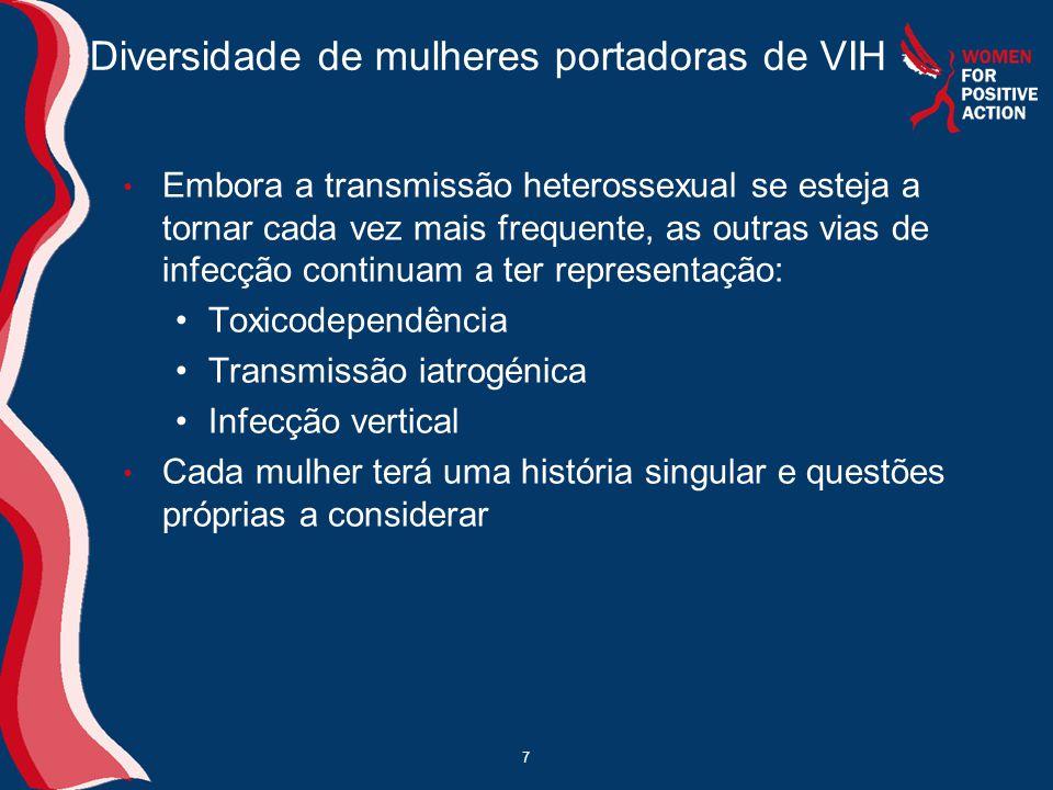7 Diversidade de mulheres portadoras de VIH • Embora a transmissão heterossexual se esteja a tornar cada vez mais frequente, as outras vias de infecçã