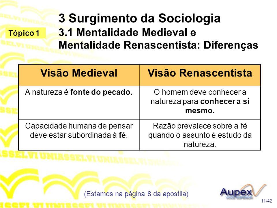 3 Surgimento da Sociologia 3.1 Mentalidade Medieval e Mentalidade Renascentista: Diferenças (Estamos na página 8 da apostila) 11/42 Tópico 1 Visão Med