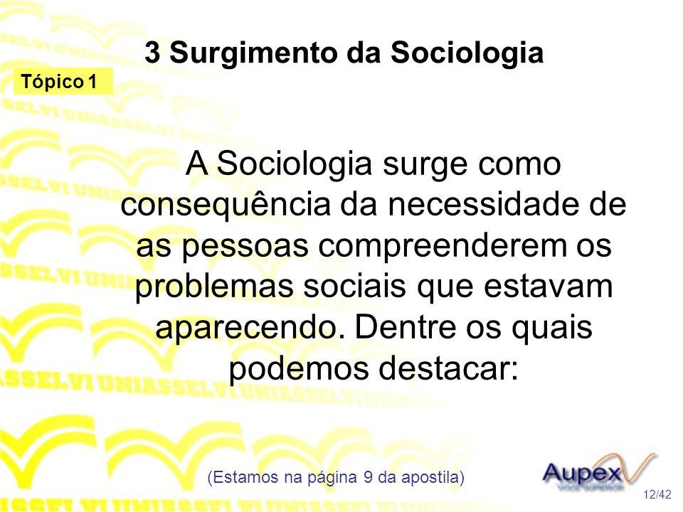 3 Surgimento da Sociologia A Sociologia surge como consequência da necessidade de as pessoas compreenderem os problemas sociais que estavam aparecendo