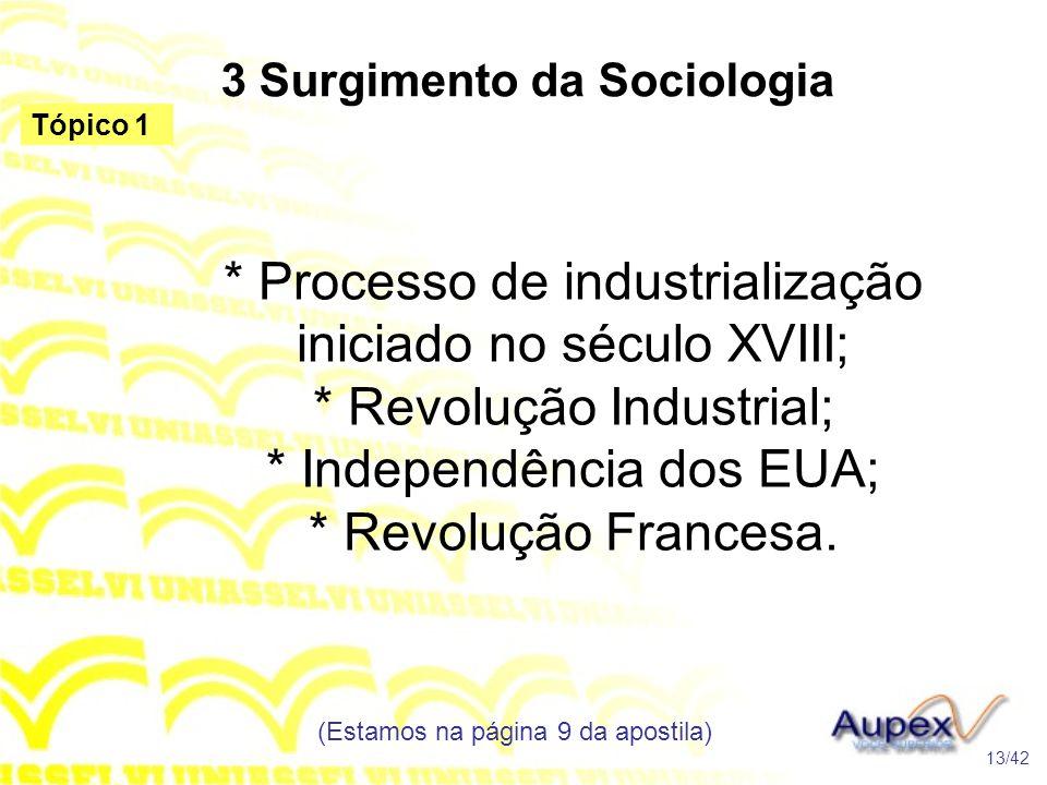 3 Surgimento da Sociologia * Processo de industrialização iniciado no século XVIII; * Revolução Industrial; * Independência dos EUA; * Revolução Franc