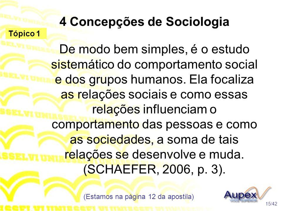 4 Concepções de Sociologia De modo bem simples, é o estudo sistemático do comportamento social e dos grupos humanos. Ela focaliza as relações sociais