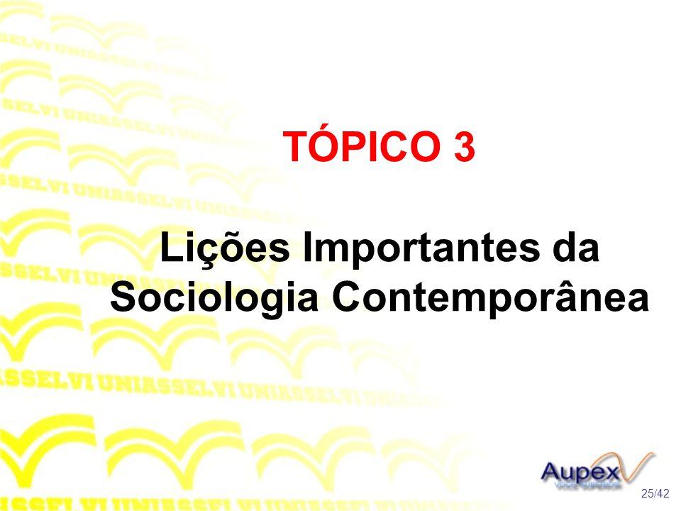 TÓPICO 3 Lições Importantes da Sociologia Contemporânea 25/42