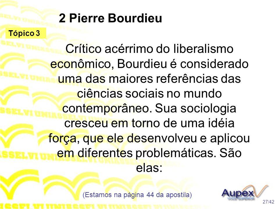 2 Pierre Bourdieu Crítico acérrimo do liberalismo econômico, Bourdieu é considerado uma das maiores referências das ciências sociais no mundo contempo