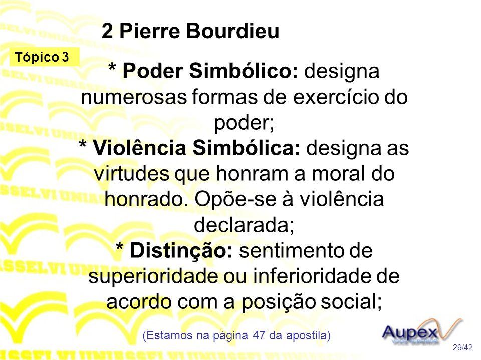 2 Pierre Bourdieu * Poder Simbólico: designa numerosas formas de exercício do poder; * Violência Simbólica: designa as virtudes que honram a moral do