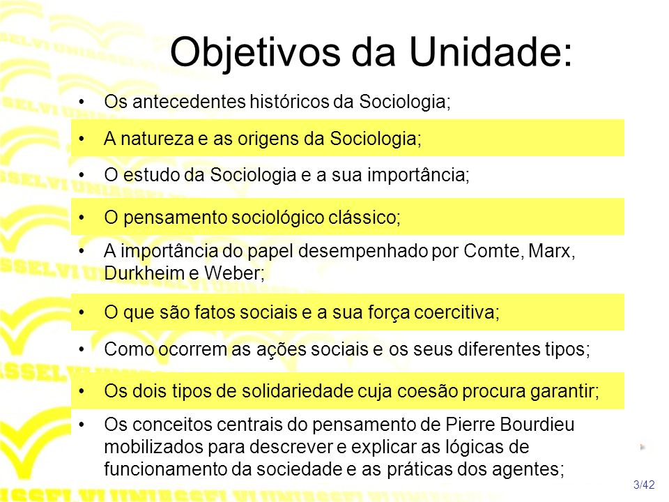 Objetivos da Unidade: •Os antecedentes históricos da Sociologia; •A natureza e as origens da Sociologia; •O estudo da Sociologia e a sua importância;