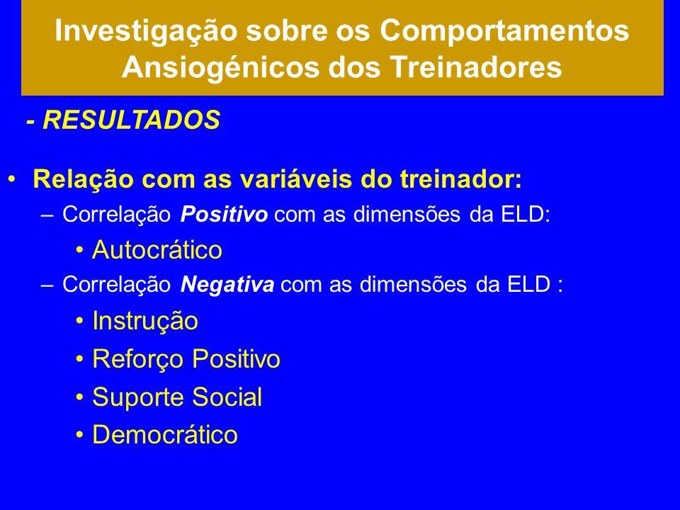 •Relação com as variáveis do treinador: –Correlação Positivo com as dimensões da ELD: •Autocrático –Correlação Negativa com as dimensões da ELD : •Ins