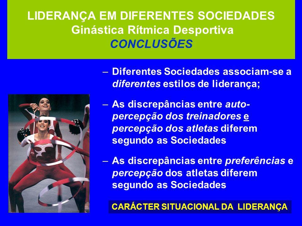 LIDERANÇA EM DIFERENTES SOCIEDADES Ginástica Rítmica Desportiva CONCLUSÕES –Diferentes Sociedades associam-se a diferentes estilos de liderança; –As discrepâncias entre auto- percepção dos treinadores e percepção dos atletas diferem segundo as Sociedades –As discrepâncias entre preferências e percepção dos atletas diferem segundo as Sociedades CARÁCTER SITUACIONAL DA LIDERANÇA