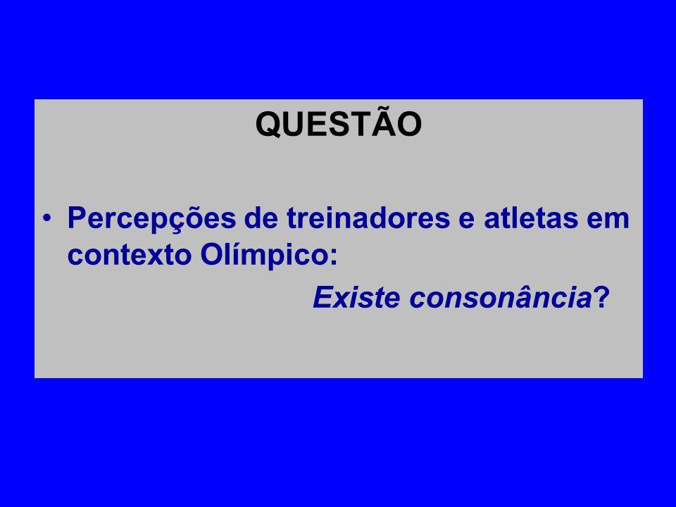 QUESTÃO •Percepções de treinadores e atletas em contexto Olímpico: Existe consonância?