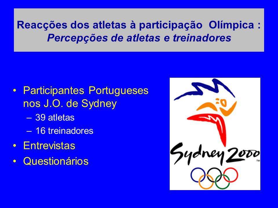 Reacções dos atletas à participação Olímpica : Percepções de atletas e treinadores •Participantes Portugueses nos J.O. de Sydney –39 atletas –16 trein