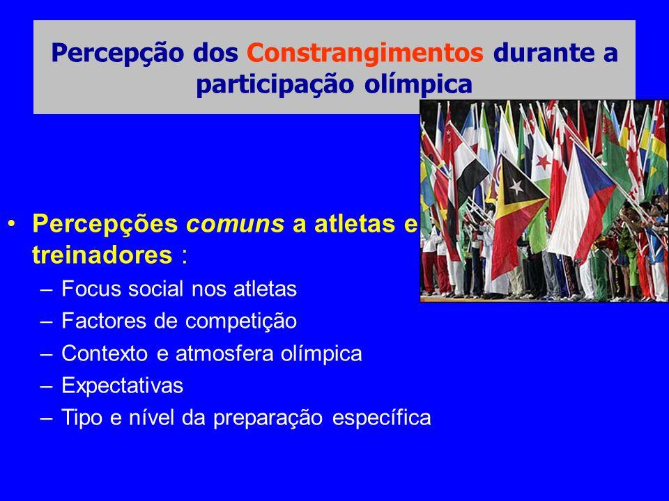 Percepção dos Constrangimentos durante a participação olímpica •Percepções comuns a atletas e treinadores : –Focus social nos atletas –Factores de com