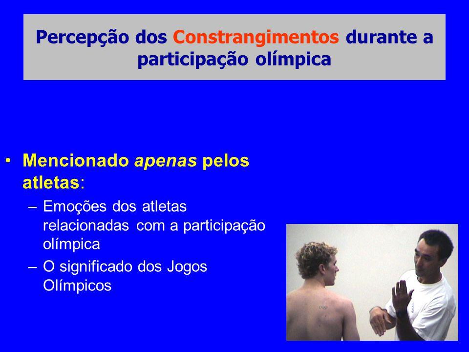 •Mencionado apenas pelos atletas: –Emoções dos atletas relacionadas com a participação olímpica –O significado dos Jogos Olímpicos Percepção dos Constrangimentos durante a participação olímpica