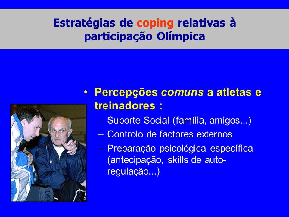Estratégias de coping relativas à participação Olímpica •Percepções comuns a atletas e treinadores : –Suporte Social (família, amigos...) –Controlo de factores externos –Preparação psicológica específica (antecipação, skills de auto- regulação...)