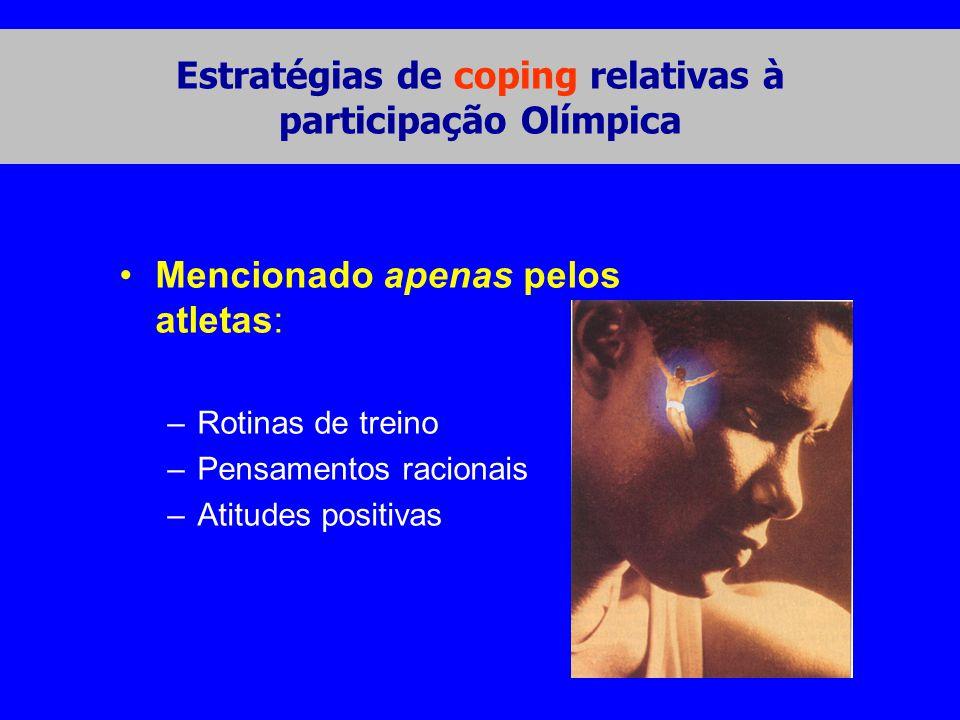•Mencionado apenas pelos atletas: –Rotinas de treino –Pensamentos racionais –Atitudes positivas Estratégias de coping relativas à participação Olímpica