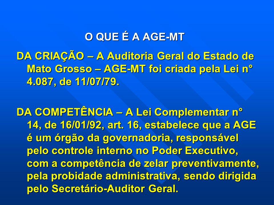 O QUE É A AGE-MT DA CRIAÇÃO – A Auditoria Geral do Estado de Mato Grosso – AGE-MT foi criada pela Lei n° 4.087, de 11/07/79. DA COMPETÊNCIA – A Lei Co