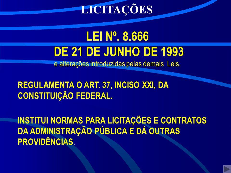 >>> LEI Nº. 8.666 DE 21 DE JUNHO DE 1993 e alterações introduzidas pelas demais Leis. REGULAMENTA O ART. 37, INCISO XXI, DA CONSTITUIÇÃO FEDERAL. INST