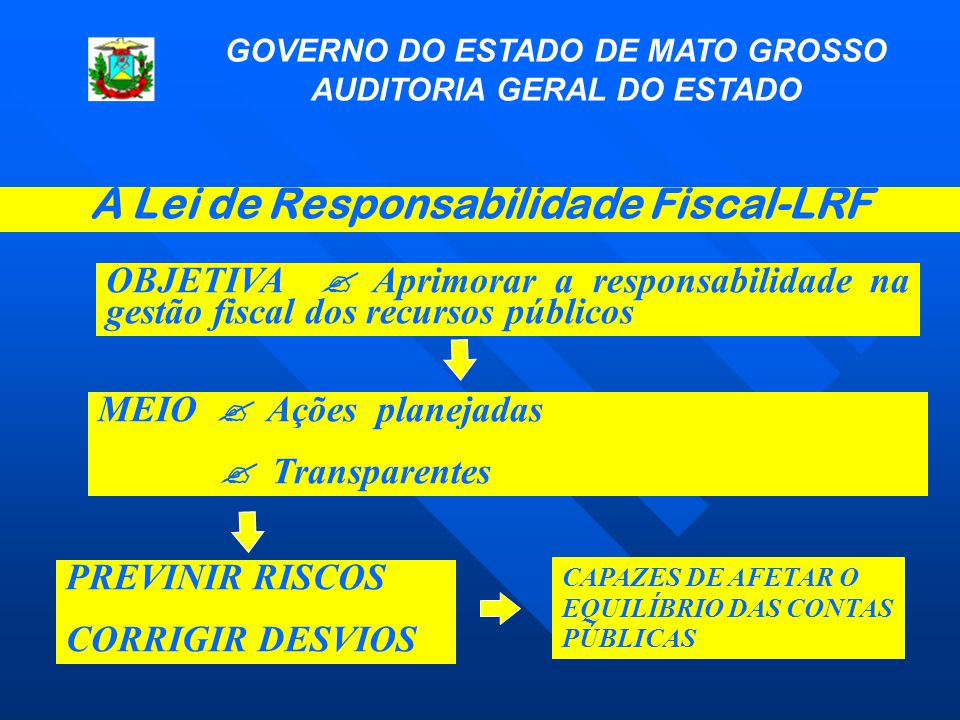 A Lei de Responsabilidade Fiscal-LRF GOVERNO DO ESTADO DE MATO GROSSO AUDITORIA GERAL DO ESTADO OBJETIVA  Aprimorar a responsabilidade na gestão fisc