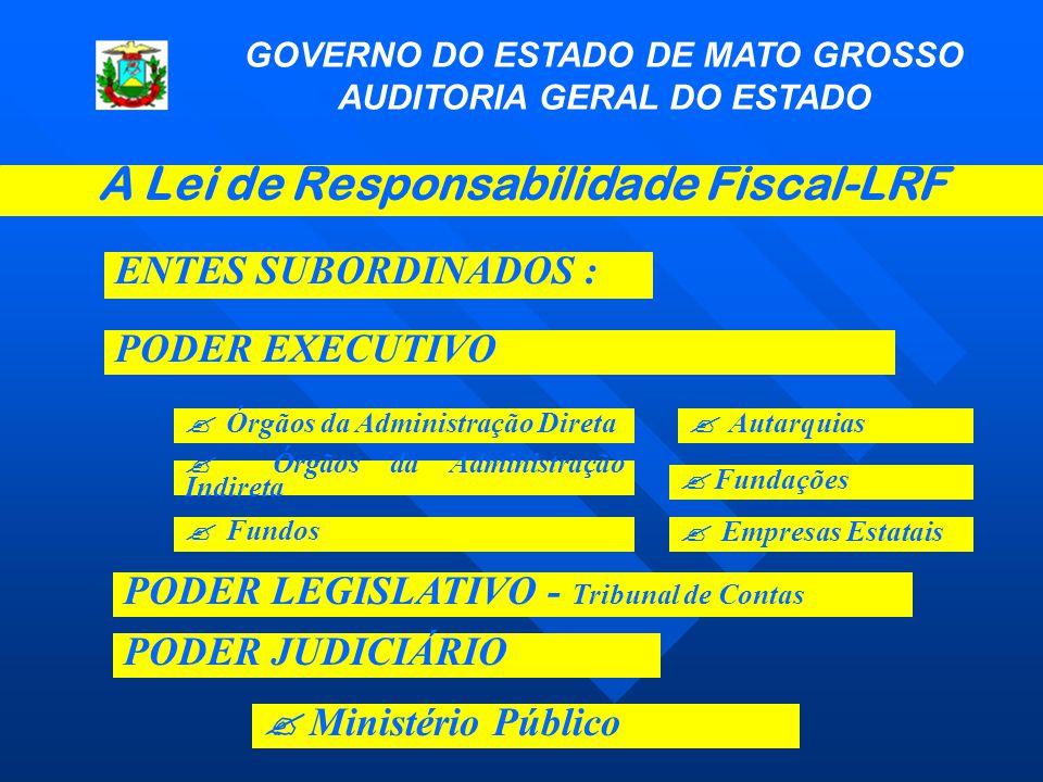 GOVERNO DO ESTADO DE MATO GROSSO AUDITORIA GERAL DO ESTADO A Lei de Responsabilidade Fiscal-LRF ENTES SUBORDINADOS : PODER JUDICIÁRIO PODER EXECUTIVO