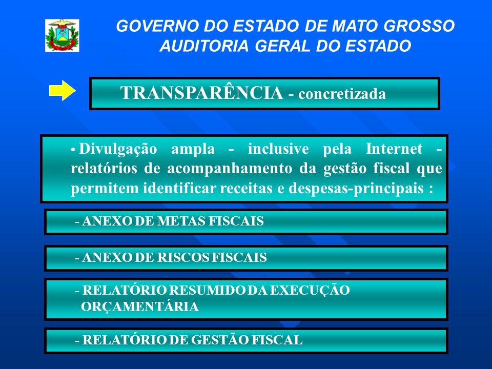 TRANSPARÊNCIA - concretizada • Divulgação ampla - inclusive pela Internet - relatórios de acompanhamento da gestão fiscal que permitem identificar rec