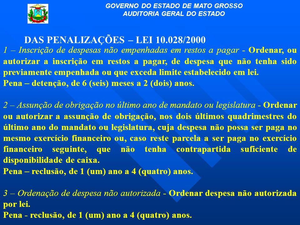 DAS PENALIZAÇÕES – LEI 10.028/2000 1 – Inscrição de despesas não empenhadas em restos a pagar - Ordenar, ou autorizar a inscrição em restos a pagar, d