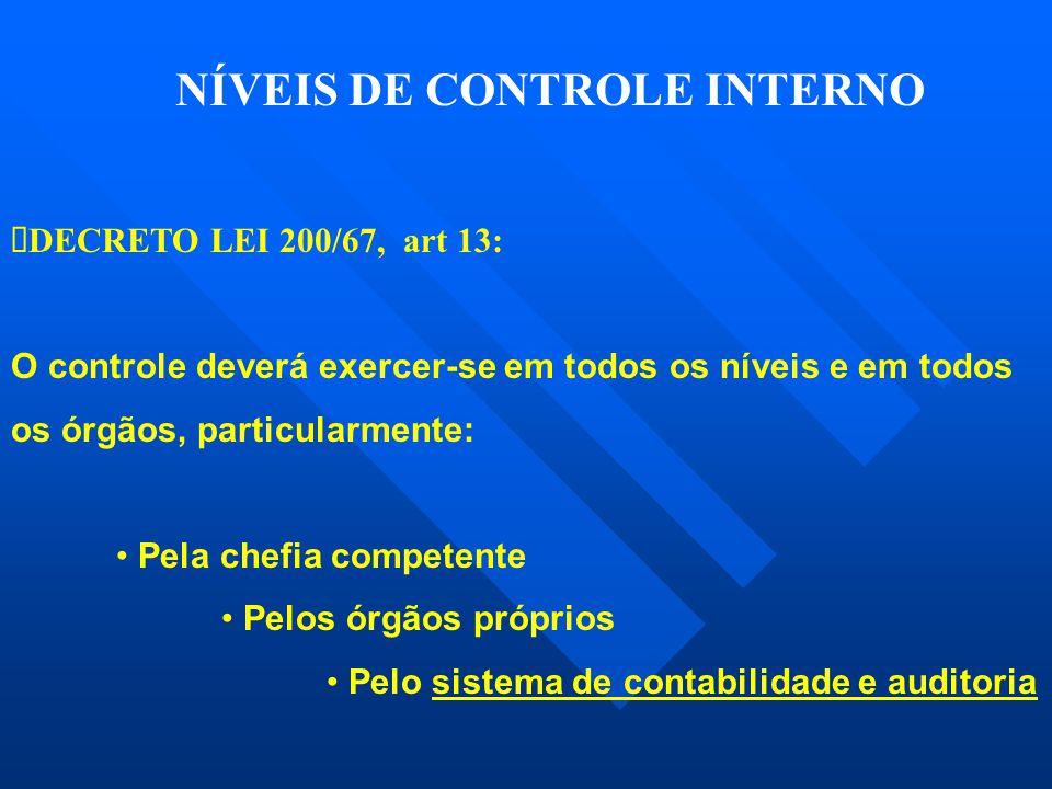  DECRETO LEI 200/67, art 13: O controle deverá exercer-se em todos os níveis e em todos os órgãos, particularmente: • Pela chefia competente • Pelos