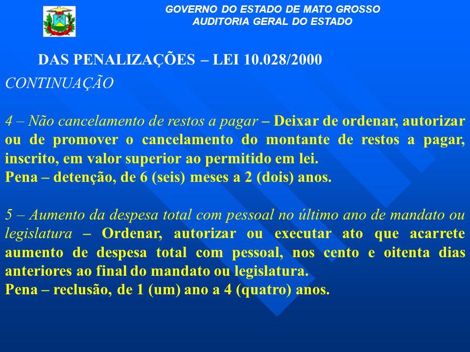 DAS PENALIZAÇÕES – LEI 10.028/2000 CONTINUAÇÃO 4 – Não cancelamento de restos a pagar – Deixar de ordenar, autorizar ou de promover o cancelamento do