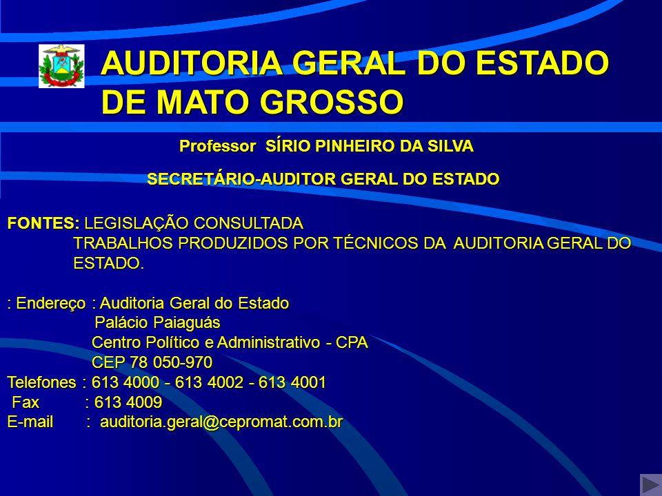 >>> AUDITORIA GERAL DO ESTADO DE MATO GROSSO Professor SÍRIO PINHEIRO DA SILVA SECRETÁRIO-AUDITOR GERAL DO ESTADO FONTES: LEGISLAÇÃO CONSULTADA TRABAL