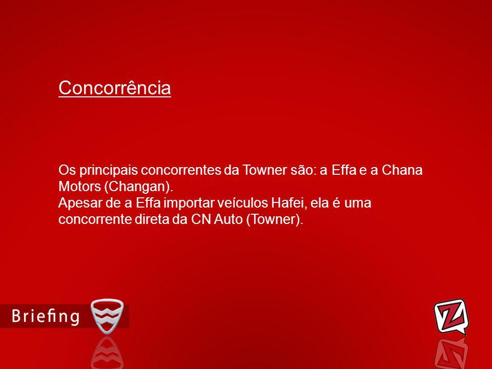 Os principais concorrentes da Towner são: a Effa e a Chana Motors (Changan). Apesar de a Effa importar veículos Hafei, ela é uma concorrente direta da