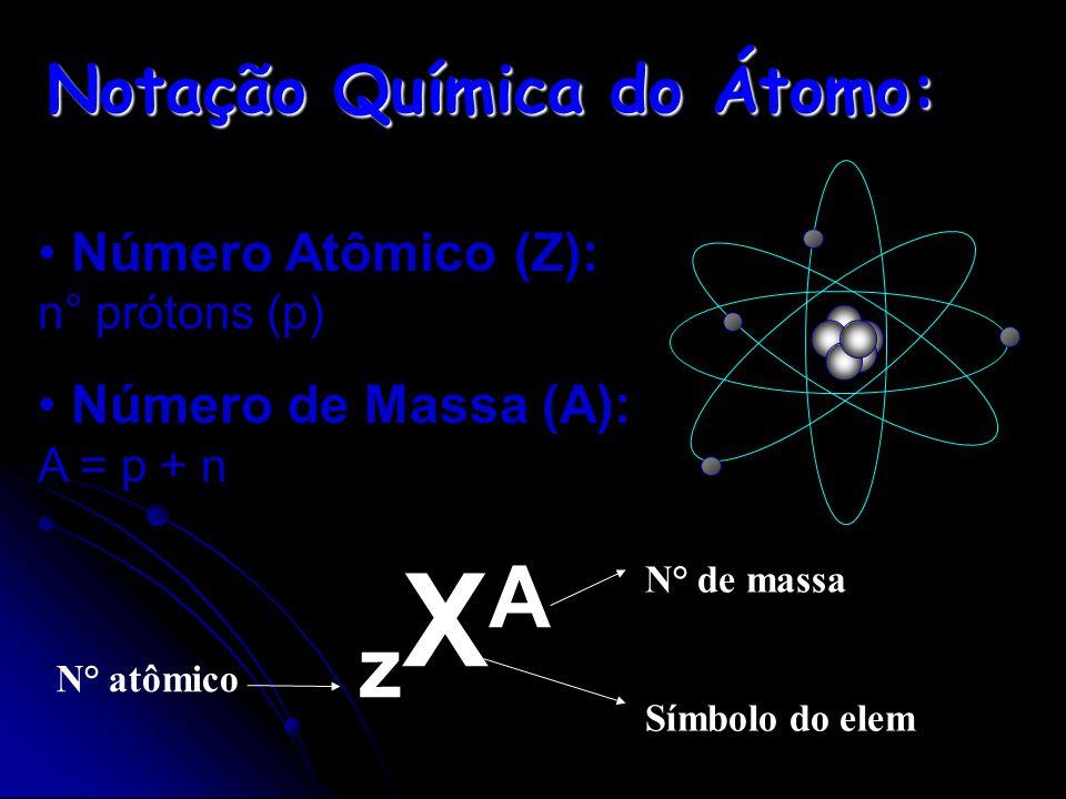 Informações Sobre o Átomo Número Atômico (Z): é o número de prótons (p) no núcleo do átomo. z = p = e z = p = e Número de Massa (A): é a soma do númer