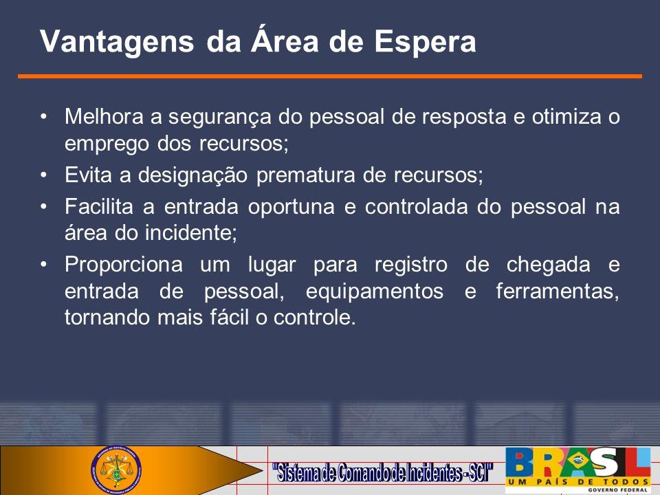 Vantagens da Área de Espera Melhora a segurança do pessoal de resposta e otimiza o emprego dos recursos; Evita a designação prematura de recursos; Fac