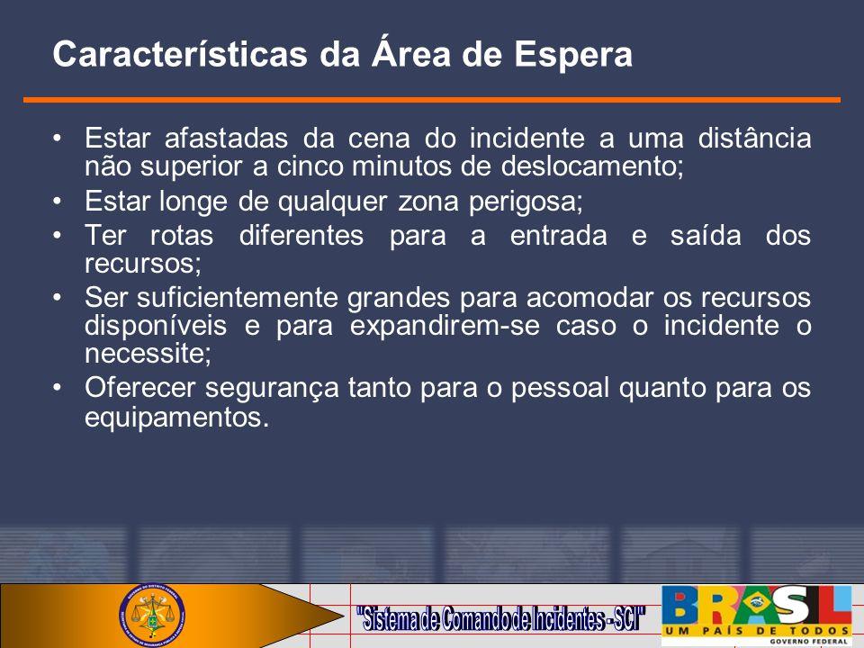 Características da Área de Espera Estar afastadas da cena do incidente a uma distância não superior a cinco minutos de deslocamento; Estar longe de qu