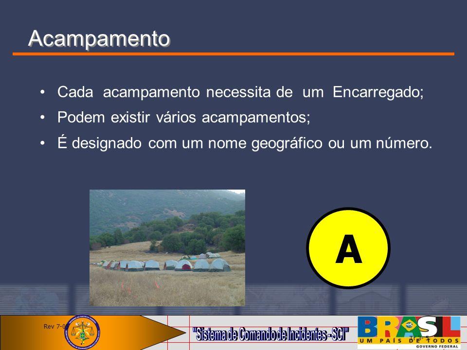 Acampamento Cada acampamento necessita de um Encarregado; Podem existir vários acampamentos; É designado com um nome geográfico ou um número. Tr 3- 5